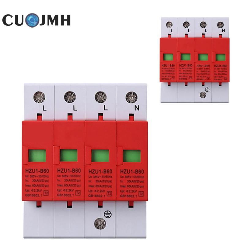 цена на Power Supply Lightning Arrester 4p Surge Protector Protect Thunder Electric System Tool 380v Three Phase Lightning Arrester
