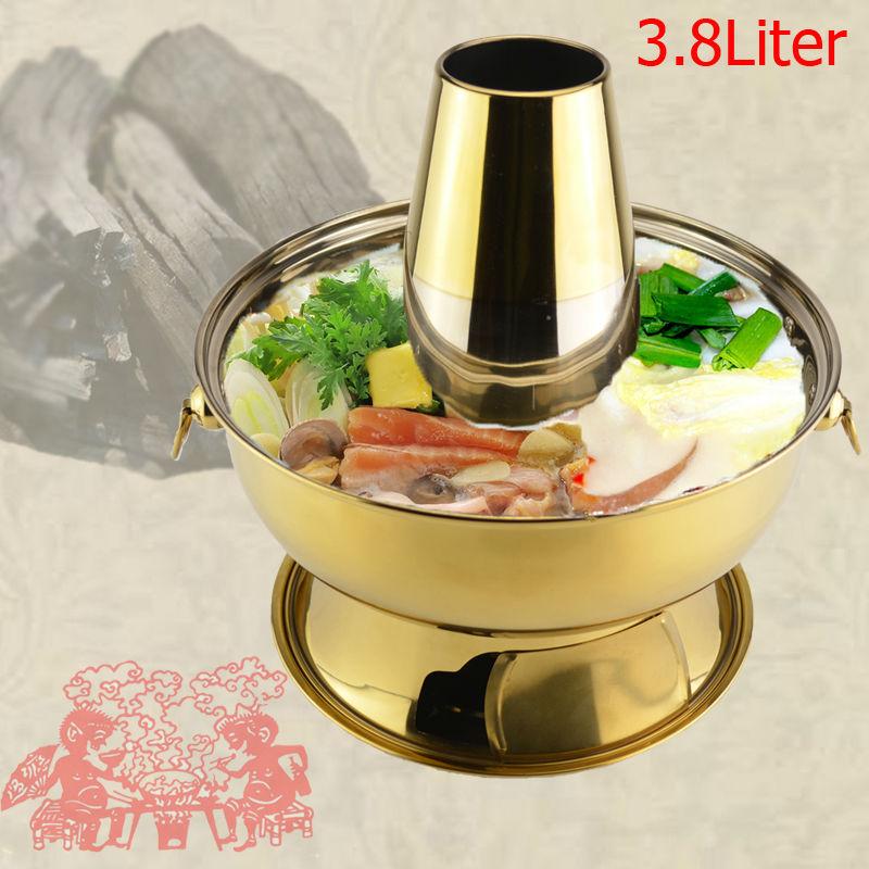3,8 l rustfritt stål gyllent kull-hotpot chafing tallerken mongolsk lam Beijing tradisjonelle hotpot komfyr piknik komfyr