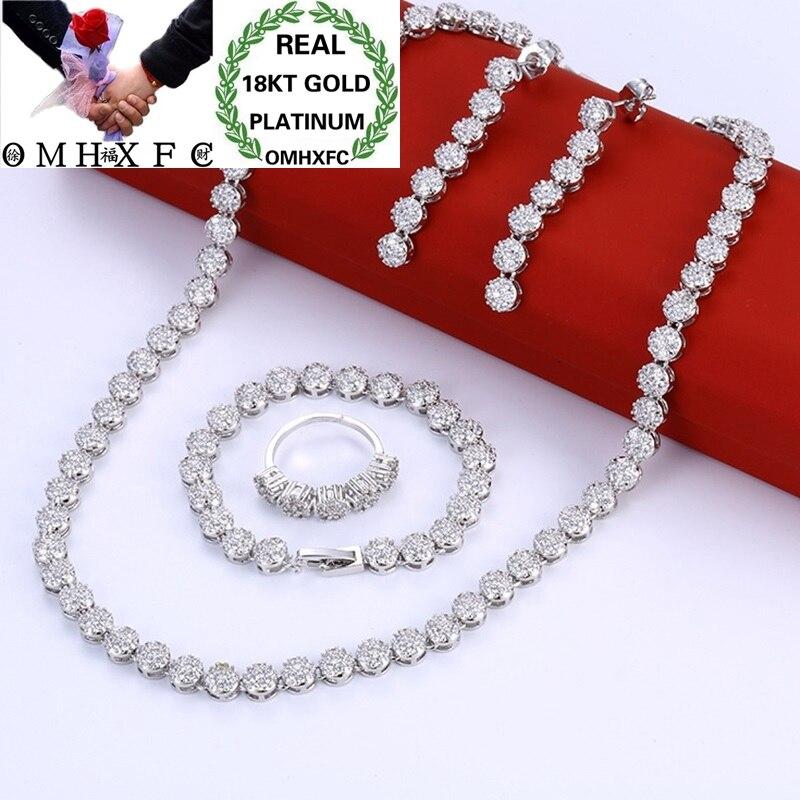 OMHXFC gros mode femme cadeau de mariage de luxe Zircon 18KT or blanc collier + boucles d'oreilles + Bracelet + bague ensemble de bijoux ET26