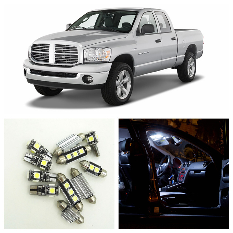 11pcs Canbus White Car LED Light Bulbs Interior Package Kit For 2003-2008 Dodge Ram 1500 2500 3500 Map Dome License Plate Lamp