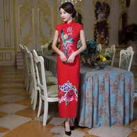 New Red Vintage Cotton Women Sexy Qipao Chinese Style Summer Long Dress Lady Slim Embroidery Flower