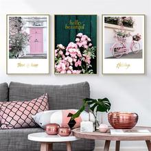 Pink Maiden Garden Wedding Room Flower Green Plant Bicycle Canvas Painting Art Print Poster Picture Wall Nordic Home Decoration