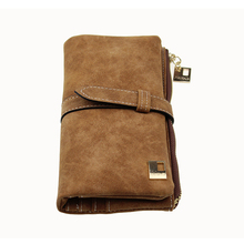Famous Brand Long Purse Two Fold Women Wallets Drawstring Nubuck Leathe