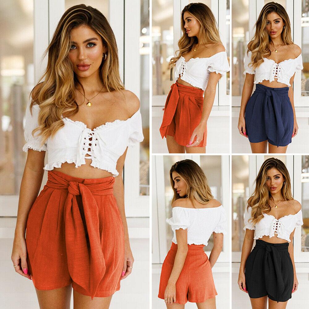 Belt Shorts 2019 New Women Summer Stylish Loose Shorts  Casual Solid Belt Beach High Waist Short Trousers