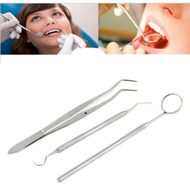 3 Teile/satz Edelstahl Dental Untersuchen Zahnarzt Zähne Sauber Hygiene Spiegel Pick Zähne Reiniger Werkzeuge Dental Ausrüstung Kits