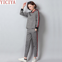 YICIYA women's tracksuits 2 piece set outfits plus size big hooded top pant suits winter autumn sportswear thick warm clothing