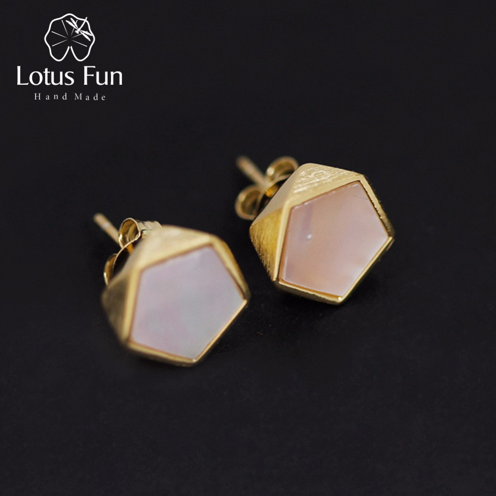 Lotus Fun Real 925 Sterling Silver Creative North European Style Geometric Angles Design Fine Jewelry Stud Earrings for Women