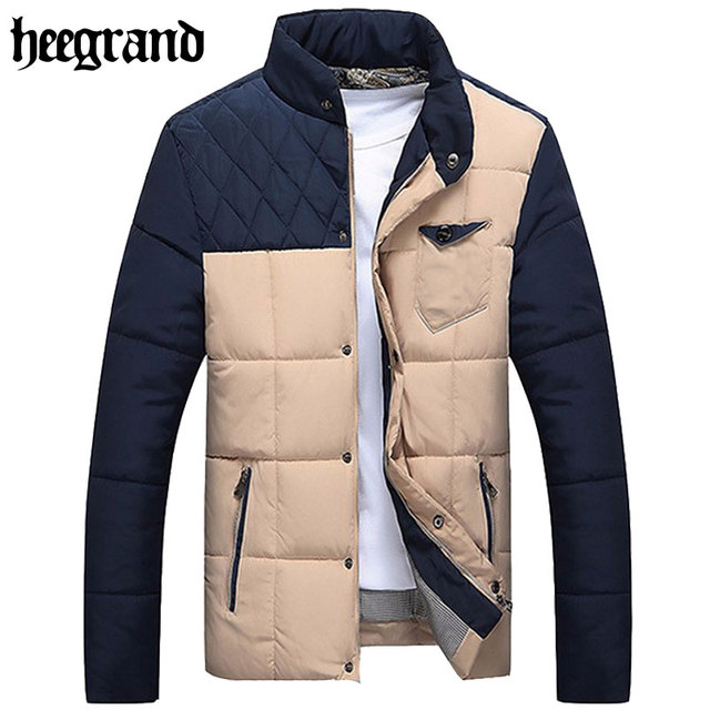 HEE GRAND 2017 New Man Winter Patchwork Stand Collar Warm Overcoat  Fashion Men Parkas Jackets Invierno Chaqueta MWM1102