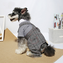 British Style Dog Clothes Gentleman Plaid Overalls for Dogs Puppies Schnauzer Pet Clothing Supplies Products