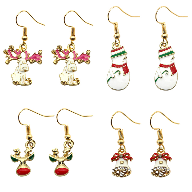 Fashion Xmas Snowman Deer Head Bells Elk Earrings For Women Earings Enamel Rhinestone Drop Christmas