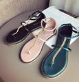 Cadena de oro Flip Flop Sandalias Planas Roma Sandalias de Gladiador shose playa ocasional de Las Mujeres Del Verano 3 Envío Libre del color