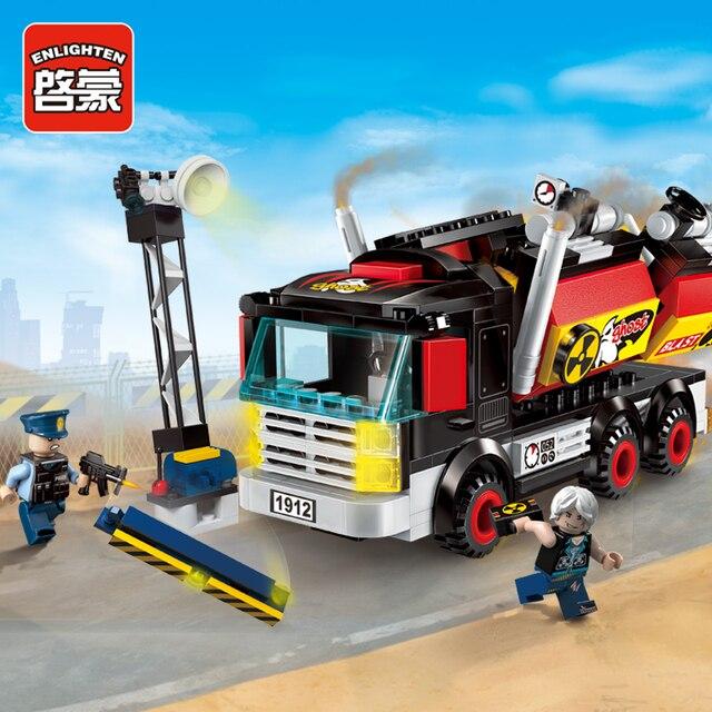Enlighten bloques de construcción de camiones de demolición de policía, 2 figuras, 292 Uds., MOC Ladrillos educativos, juguete para niños, sin caja