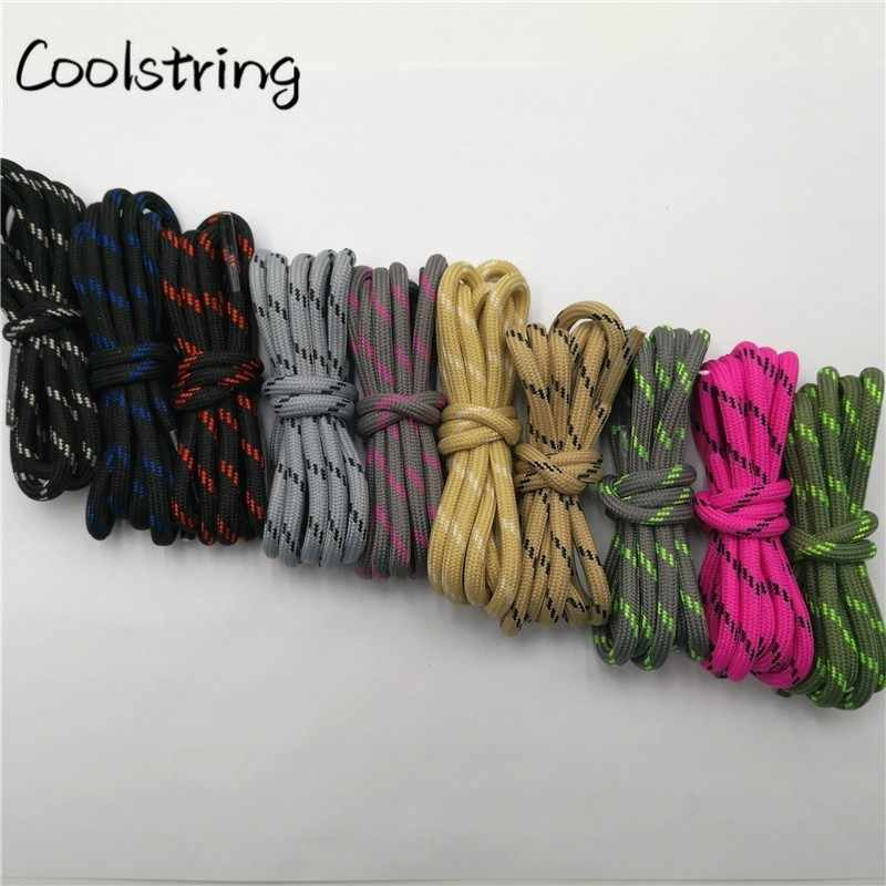 Coolstring corda redonda ao ar livre caminhadas sapatos laços listrado wear resistente tênis bota cadarços cordas para esportes masculinos e femininos