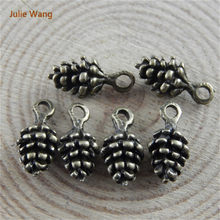 Julie Wang 80pcs Mini Nut Charms Retro Bronze Alloy Fashion Jewelry Pine Cones Pendant Charm Crafts(China)