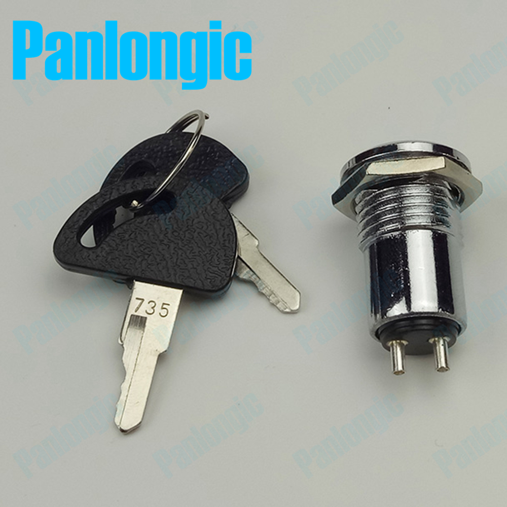 Panlongic 16MM 735 S1601 Type 250V 1A Electronic Lock Key Switch Phone Lock Double Pull Power Supply Lock Power Lock 12mm zinc alloy electronic key switch on off lock switch phone lock security power switch tubular terminals 2 keys 2 position