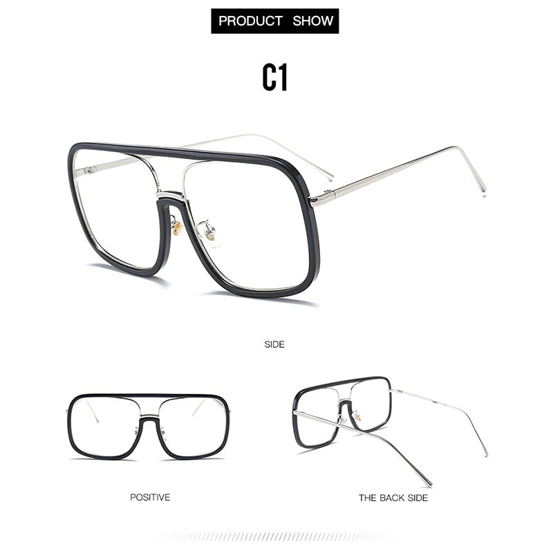 b9316a5b170 2019 Oversize Square Clear Glasses Gold Eyeglasses Women Men Glasses ...