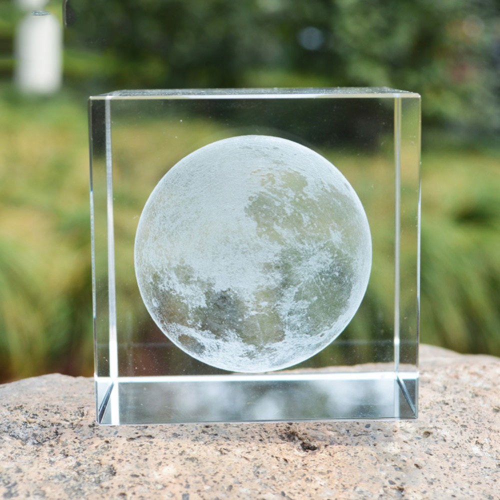 6cm 3d Moon Crystal Cube Laser Engraved Ornaments Glass Miniatures For Gifts Home Decoration Accessories Astronomical Craft Home Decor Statues & Sculptures