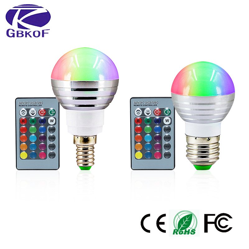 3W RGB LED Bulb E27 E14 Ampoule Led 16 Color Magic LED Night Light Lamp 110V 220V Dimmable Light 24key Controller Bombillas  Led