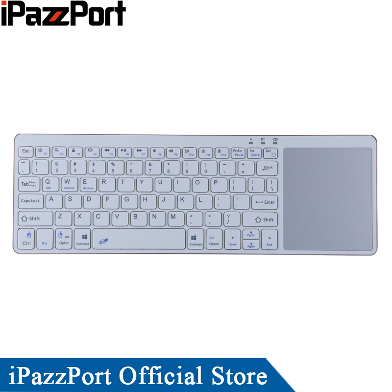iPazzPort Bluetooth Keyboard with TouchPad for IOS/Android/Windows Tablet for iPad Air/iPad Pro/iPhone X Wireless Keyboard quwind german keyboard bluetooth wireless keyboard for ipad pc notebook laptops for ios and android white
