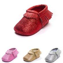 Vermelho cintilante sapatos da menina do bebê bling recém-nascidos primeiros caminhantes xmas mas crianças mocassins borla couro brilhante natal menino franja meia