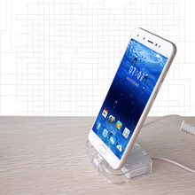 For HUAWEI SAMSUNG Acrylic tablet cellphone mobile alarms display holder secure charging holder base new arrival 2018 small size white color remote control charging function security alarms display holder for smartphone