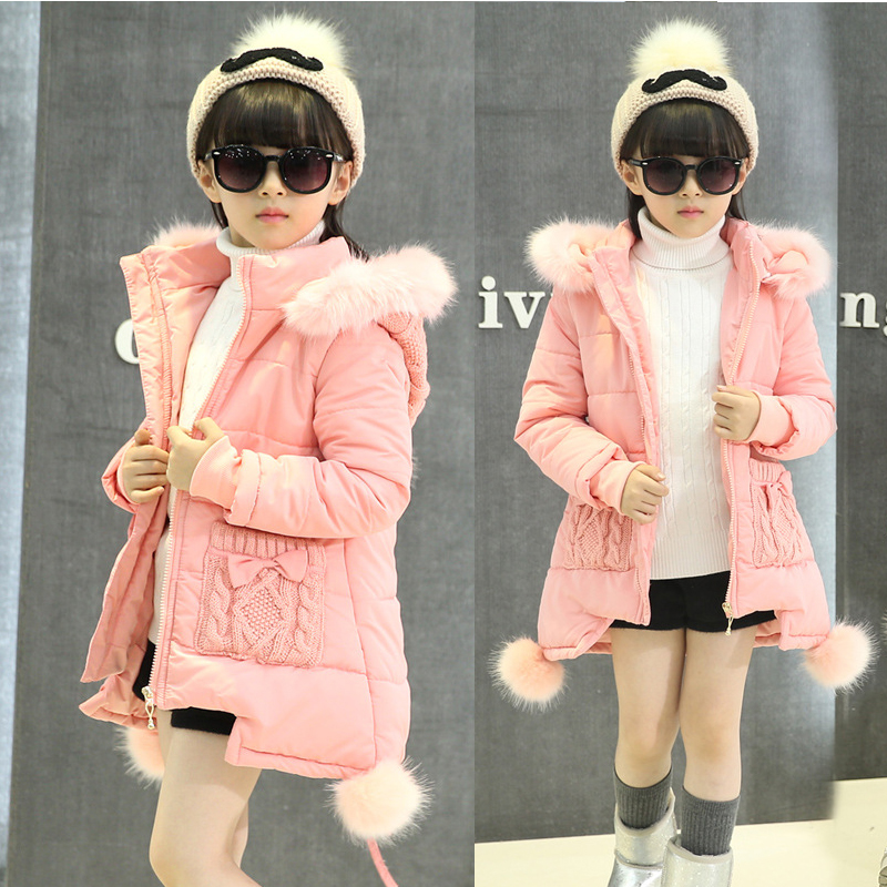 Children Thick Cotton Padded Jacket New Children Parka Girls Winter Coat Long Down Jackets Thick Hooded Winter Jacket for Girls нечегонадеть колье