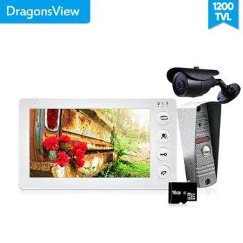 Dragonsview 7'' Video Door Phone Doorbell Intercom Access Control Intercom System Motion Detection Record 16GB+CCTV Camera