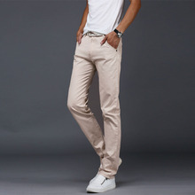 2019 New Summer Casual Men pants Cotton Slim Pant Straight Trousers Fashion Business Solid Khaki Black Pants Men Plus Size 28-38 new mens casual business pant stretch elastic fabric slim straight pant black blue khaki men pants trousers male big size 28 38