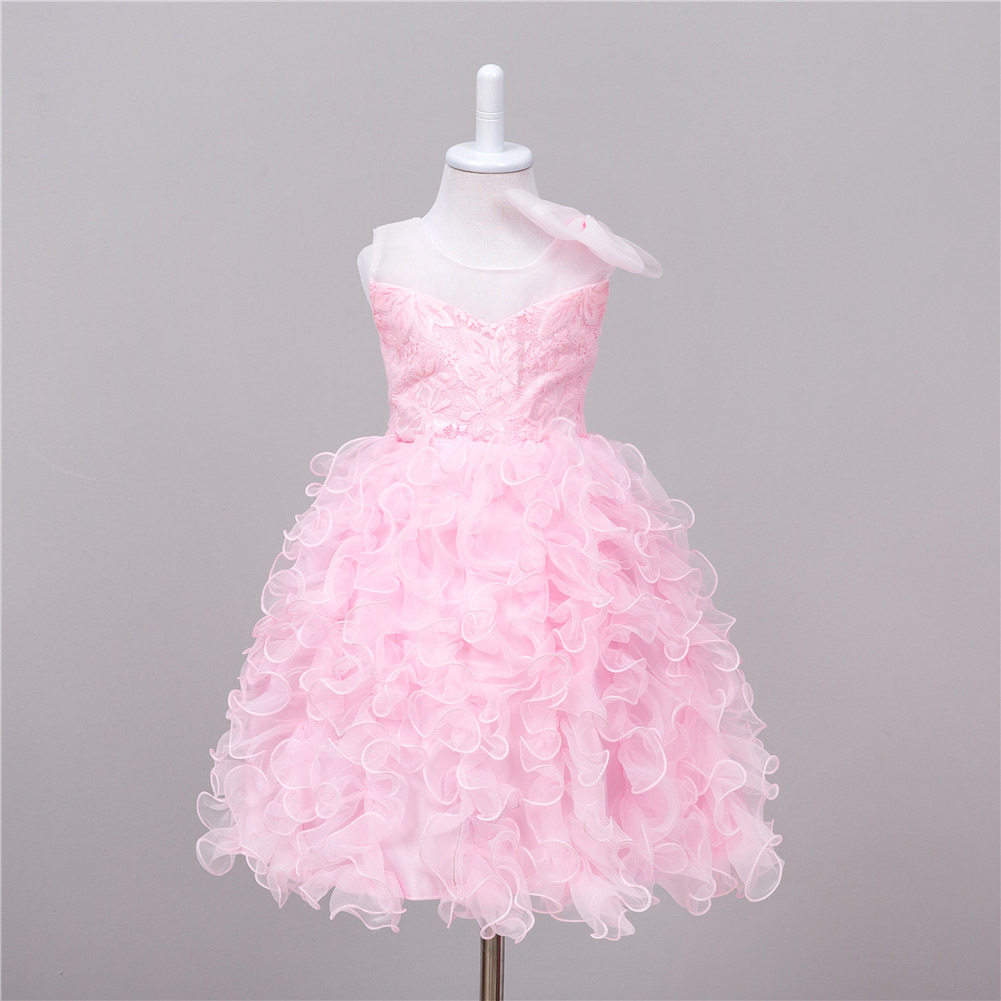 Princess Designer Evening Gowns for Wedding Kids Ruffled Pageant Dresses Summer Party Pink Flower Dresses for Little Girls in stock layered pre teen party gowns little girls pageant dress pink color