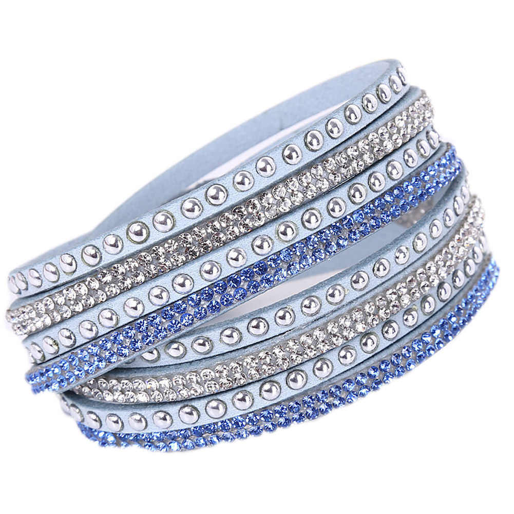 New Leather Bracelet Rhinestone Crystal Bracelet Wrap Multilayer Bracelets for women feminino pulseras mulher Jewelry free ship