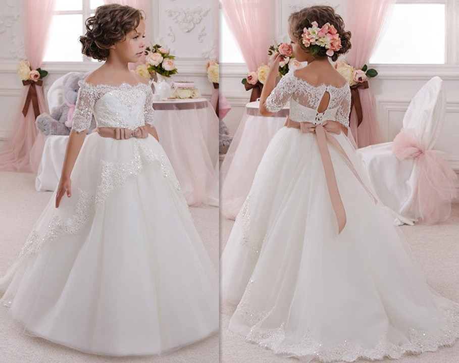 Gorgeous New First Communion Dress Lace Up Off The Shoulder Appliques Key Hole Ball Gown Flower Girls Dress for Wedding elegant vestido de primera communion romance lace up off the shoulder lace appliques key hole soft tulle ball gown 2 12 year old