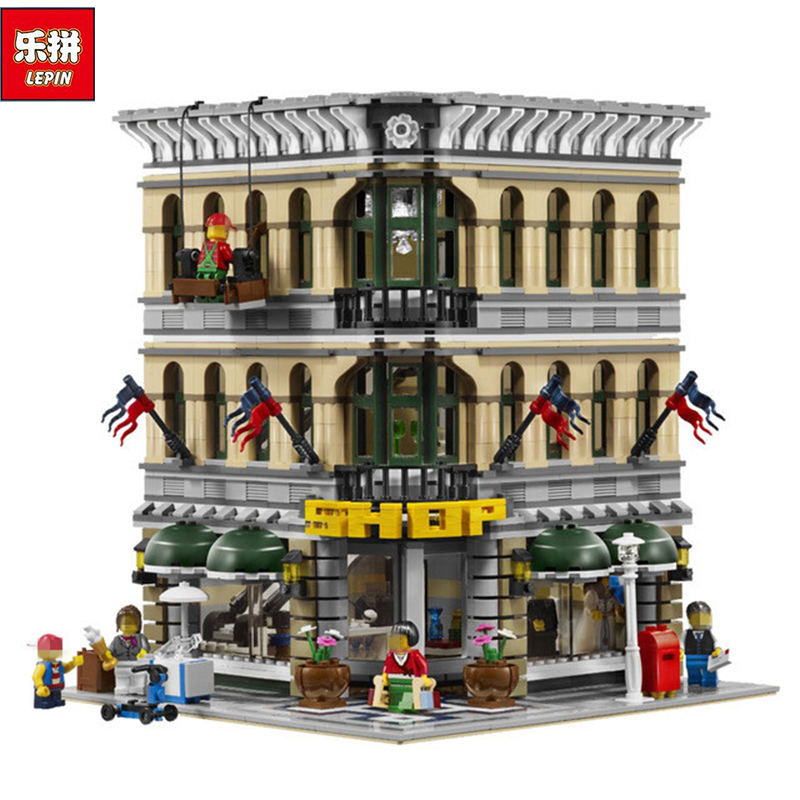 LEPIN 15005 2182pcs City Grand Emporium Model Building Blocks Kits Brick Toy Compatible Educational 10211 Children day's DIYGift a toy a dream lepin 15008 2462pcs city street creator green grocer model building kits blocks bricks compatible 10185
