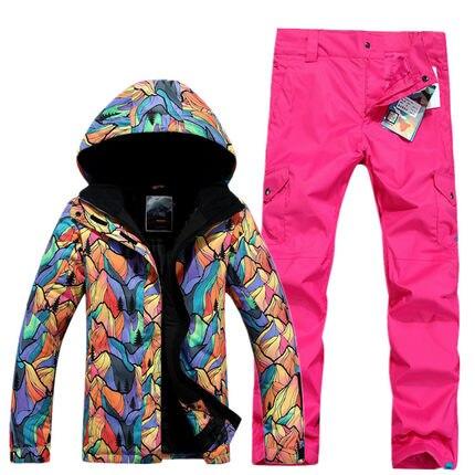 GSOU SNOW Women's Single Double Board Ski Suit Outdoor Thick Warm Waterproof Ski Jacket +Ski Trousers Size XS-L trousers moe l