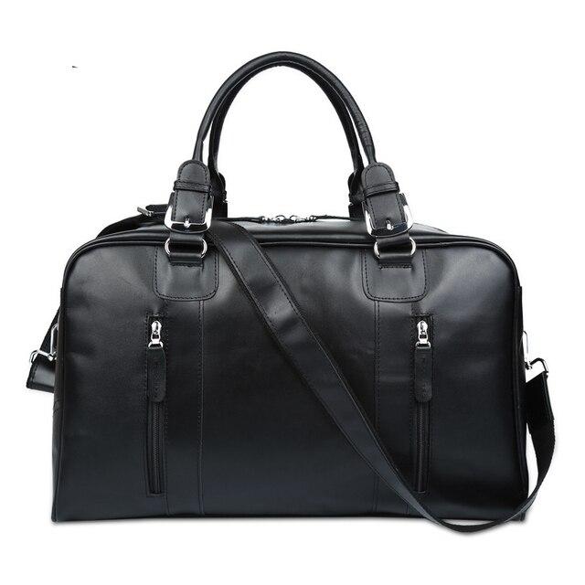 Fashion Genuine Leather Men s Travel Bag Luggage   Travel Bag Men Carry On Leather  Duffel Bag Weekend Bag Big Tote Handbag black 521b406f05381