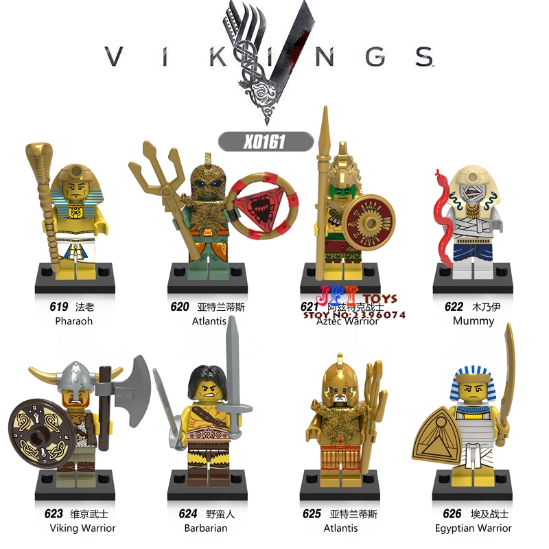 80pcs superhero Medieval Vikings Mummy Warrior model building blocks bricks friends hobby Gift toys for boys children iluminador