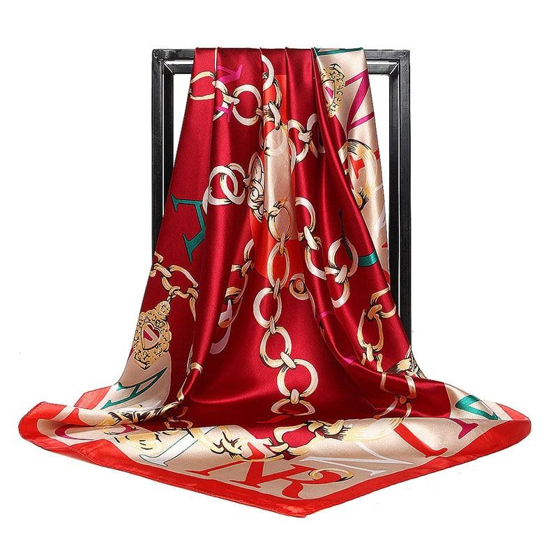 Luxury Brand Women Twill Silk Scarf Letter Chain Print Square Scarves Wraps Fashion Female Hijab Headband