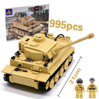 Compatible Legoing 995pcs Military German King Tiger Tank Building Blocks Army WW2 Soldier Weapon Mini Bricks Figures Boy Toys