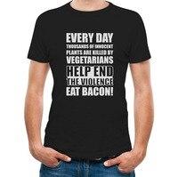T-shirt Nuovi Arrivi Terminare La Violenza Mangiare Pancetta T-Shirt di Alta Qualità Abbigliamento Casual
