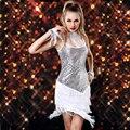 2017 New Latin Dance Dress Women Free Size Sequin Dance Costumes White/Red/Black/Gold DJ Sexy Plus Size Club Dresses Free Ship