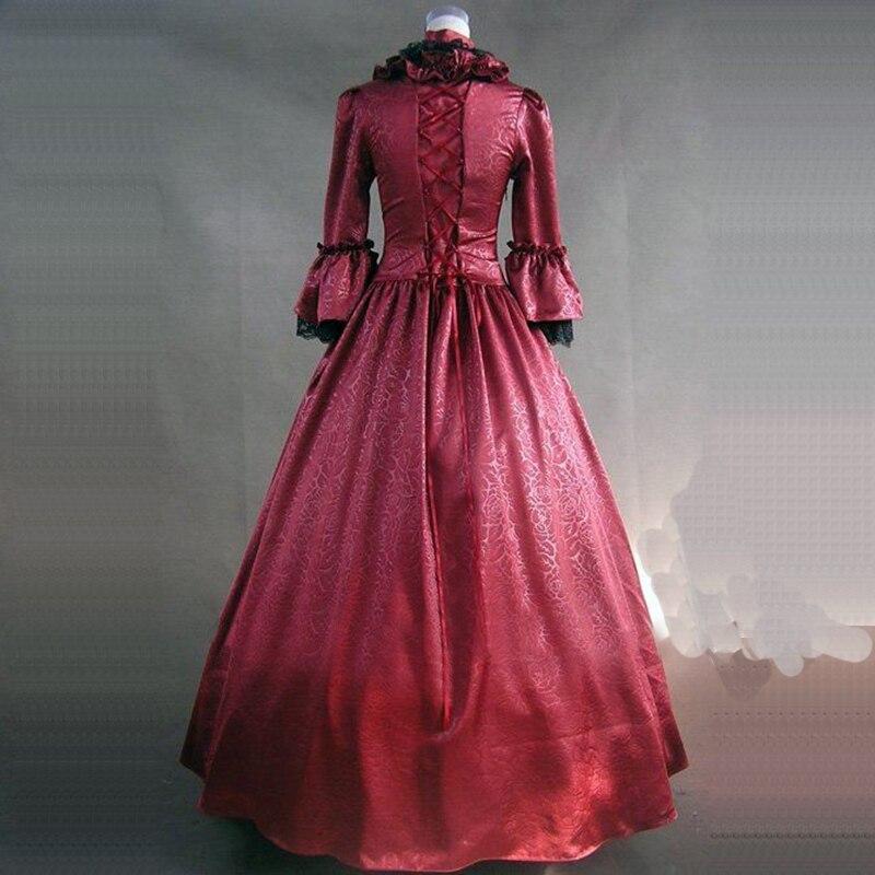 Manches Volants Victorien rouge Et Femmes Gothique Coton Belle Arc Classique Pour Solo Noir Robes Rouge Noir Boule Col Flare Carré qHxnCf7