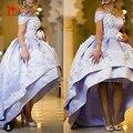 Luxury Vintage 2016 Moda Árabe Em Dubai Evening Vestidos Hi-Lo vestido de Baile Bateau Decote Kaftan Prom Especial Ocasião Vestidos
