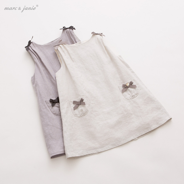 Marc&Janie 2015 new arrival baby girl linen dress male child A-line dress  with bow
