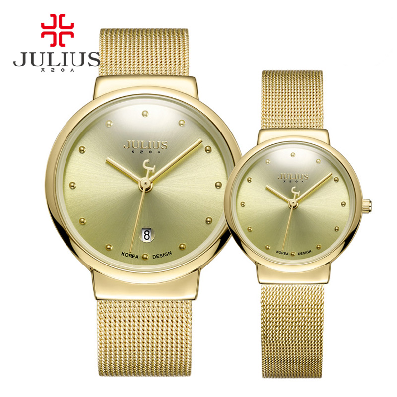 JULIUS JA-426 Couple Lover Gold Silver Black Mesh Stainless Steel Quartz Analog Waterproof Casual Watch Fashion Wristwatch Gift ysdx 398 fashion stainless steel self stirring mug black silver 2 x aaa