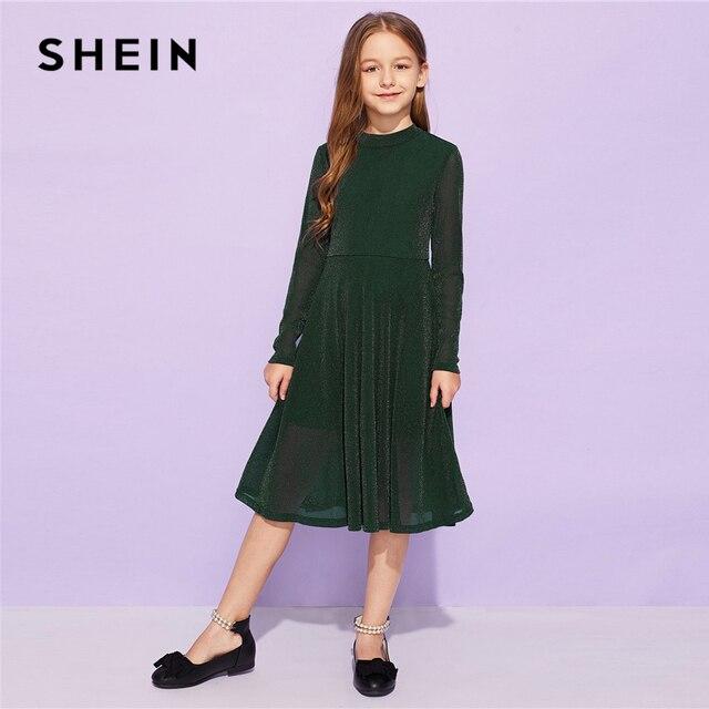 Шеин Kiddie армейский зеленый Твердые расклешенные элегантные вечерние для девочек Детские платья для девочек 2019 Весна корейской моды линии длинное платье
