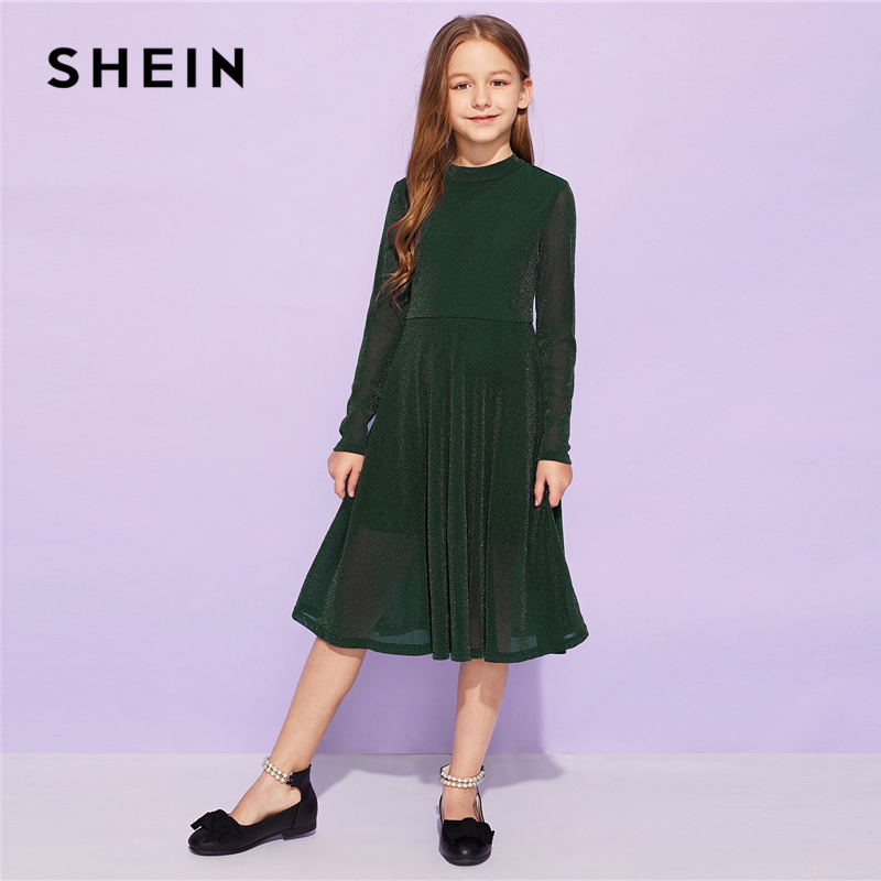 SHEIN Kiddie Army Green Solid Flared Elegant Girl Party Kids Dresses For Girls 2019 Spring Korean Fashion A Line Long Dress trendy boat neck cap sleeve floral print a line zipper women dress