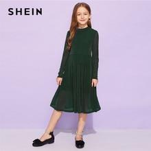 SHEIN Kiddie Army Verde Solido Svasato Elegante Della Ragazza Bambini  Vestiti Da Partito Per Le Ragazze 2019 Primavera Coreano d. 63a2a2527e8