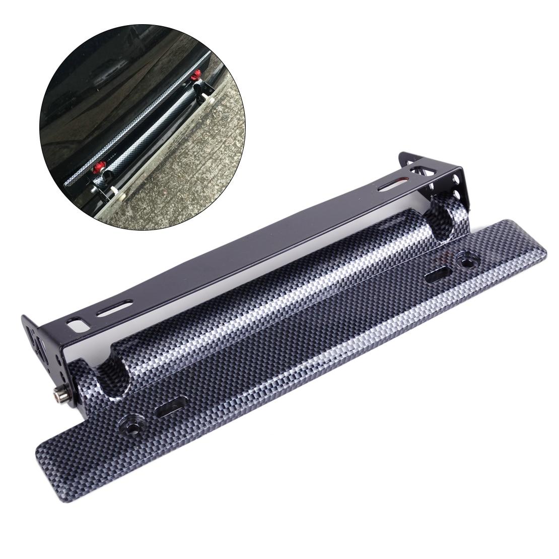 car carbon fiber adjustable number license plate frame bracket hold mount relocator for vw audi ford