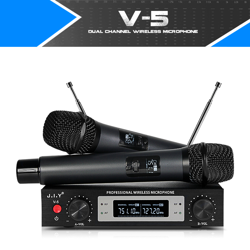 Professional Wireless Microphone Dual Handheld mixer audio kits Mic Receiver Wireless microphones for KTV karaoke compute wireless microphone professional handheld microfone condenser fm bluetooth mic with receiver uhf mic for karaoke ktv system