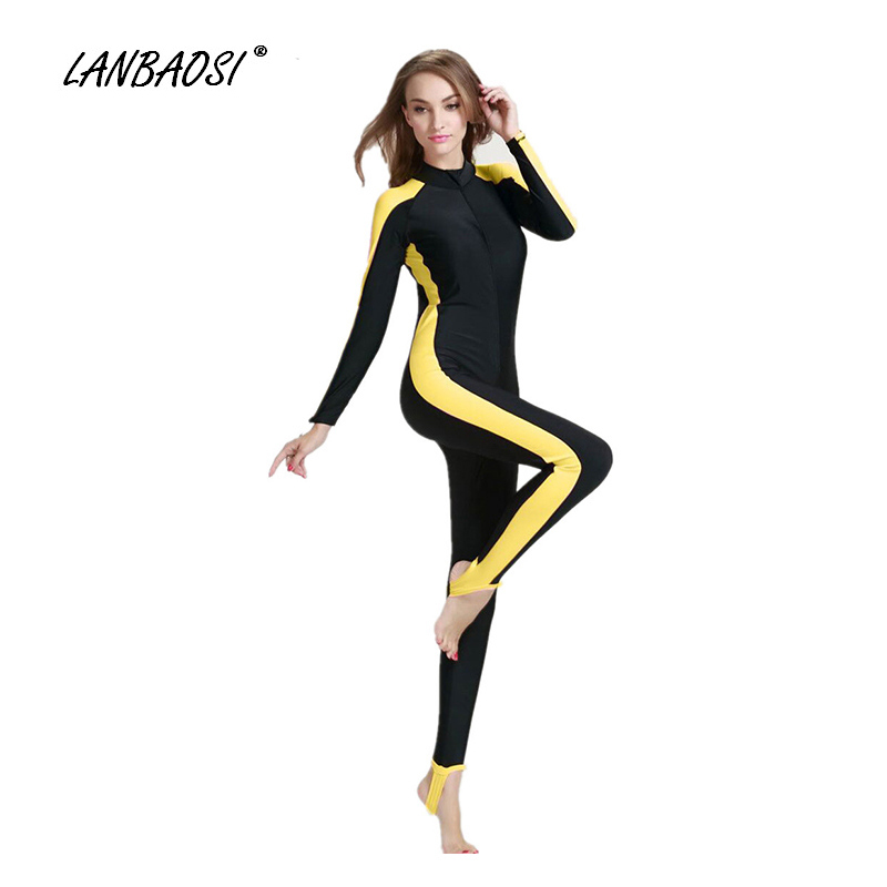2017 Hot Sale diving Swimsuit UPF50+ Sun Protection Women's Fitness Surfing Suit Long Sleeve Full Suit Lycra Rashguard One Piece sbart upf50 rashguard 916