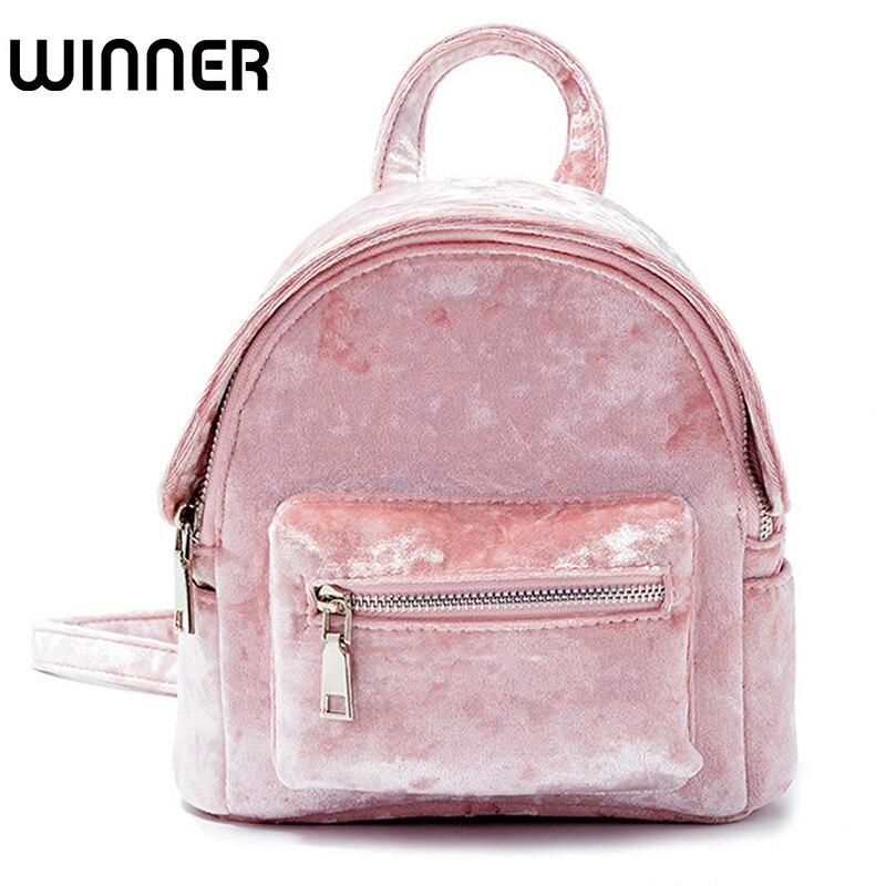 Mini Pink Velvet Women Small Backpack Kawaii Bag Female High Quality Back Pack Cute School Backpacks for Girls